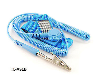 Anti-Static Grounding Strap Wrist Band w/ 6ft Coil Cord, Blue, TL-AS1B