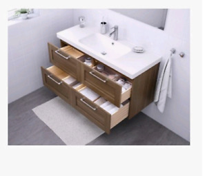 Godmorgon Hanging vanity. Woodgrain. Brand new in box. Double 12