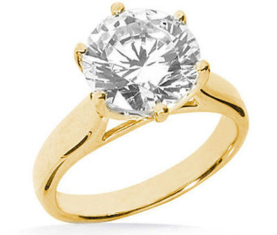 2 carat Round Diamond Engagement 14k Yellow Gold Solitaire Ring  GIA cert. H SI1