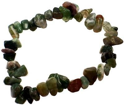 Bloodstone Gemstone Chip Elastic Bracelet
