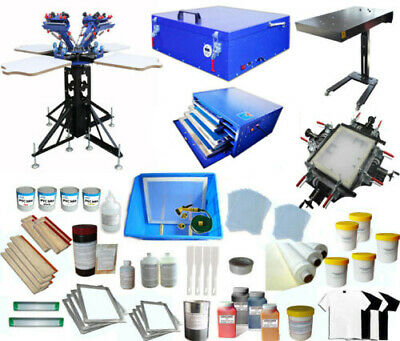 4 Color 4 Station Screen Printing Kit Screen Press Printer Dryer Exposure Diy
