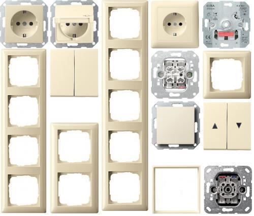 Gira System 55 Serie Steckdosen/Schalter cremeweiß - Auswählen