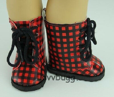"Red Black Checked Boots Rain Boots for 18"" American Girl or Boy or Bitty Baby Doll Shoes"