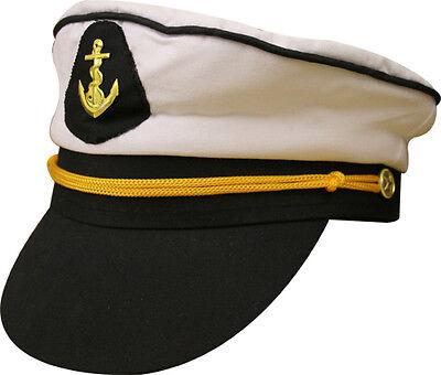 Erwachsenen Herren Damen See Boot Schiff Kapitän Skipper Hut Kappe Kostüm - Skipper Kostüm