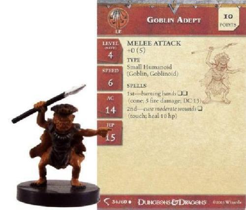 D&D Mini - SET OF 2 GOBLIN ADEPTS #34 (Deathknell Series - SEALED with CARDS!)
