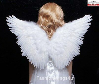 FashionWings Children's White Butterfly Style Costume Feather Angel Wings - Costume Angel Halo