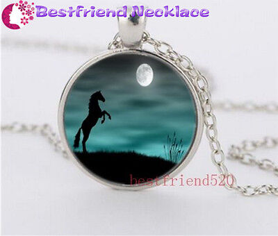 Horse and Moon Cabochon Glass silver necklace for women men Jewelry