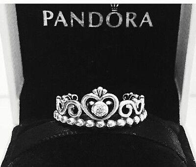 Authentic Pandora My Princess Ring W  Pandora Tag   Hinged Box  190880Cz