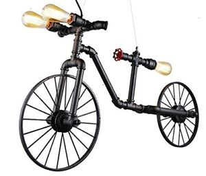 Vintage Pipe Bicycle Chandelier Pendant lampe Luminaire Suspendu