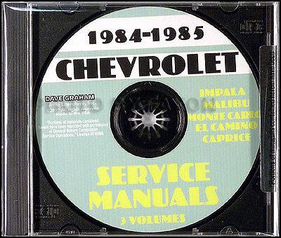 1984 1985 Chevy Shop Manual CD El Camino Caprice Impala Monte Carlo Caballero Chevy El Camino Shop