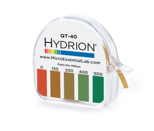 QT-40 Hydrion QUAT Quaternary Sanitizer Solution Test Check Tape Paper 0-500ppm