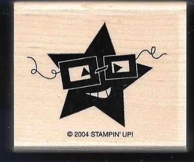 ROCK STAR FACE Glasses Halloween Mask STAMPIN' UP! 2004 HEADS UP! RUBBER STAMP