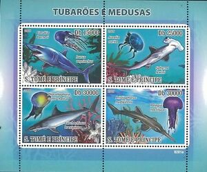 St-Thomas-Prince-2009-Stamp-ST0923A-Shark-Jellyfish-Fish-Coral-Reef