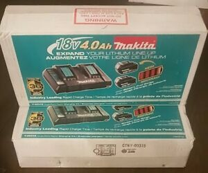 Brand New Makita 18v 2 port charger with 2 4.0ah batteries