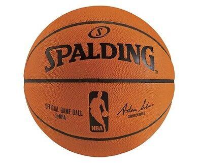 【】SPALDING SILVER NBA BASKETBALL GAME BALL OFFICIAL Size 7