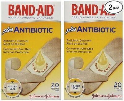 2x BAND-AID Plus Antibiotic Assorted Adhesive Bandages 20 Each