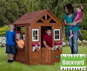 NEW TIMBERLAKE PLAYHOUSE BACKYARD DISCOVERY CEDAR WOODEN CHILDREN PLAY HOUSE TOYS GARDEN 108097149