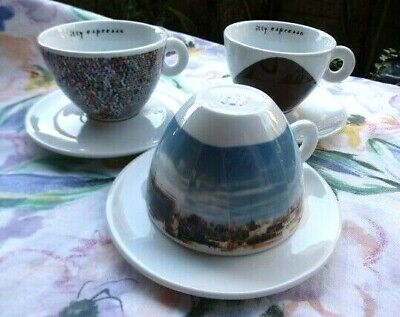 ILLY espresso~Cappuccino 3 CUPs Saucer~2001 PS1~MoMa affiliate~Italy IPA~EXC~HTF