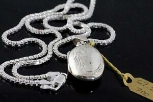 NEW WITH RECEIPT SOLID SILVER STAMPED LOCKET & CHAIN FOR SALE