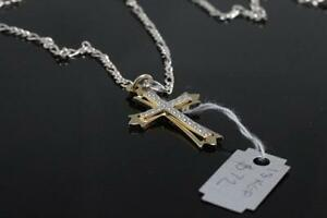 NEW GENUINE SOLID STAMPED SILVER CROSS & CHAIN