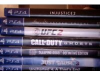 Uncharted 4, Just Cause 3, Sleeping Dogs, Call of Duty Ghost, UFC2, Batman Arkham Night, Injustice 2