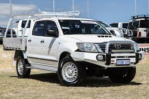 2014 Toyota Hilux KUN26R MY14 SR Double Cab White 5 Speed Manual Cab Chassis Bibra Lake Cockburn Area Preview