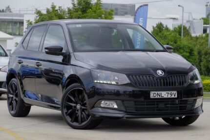 2017 Skoda Fabia NJ MY17 81TSI DSG Monte Carlo Black 7 Speed Sports Automatic Dual Clutch Hatchback
