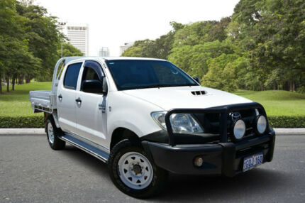 2011 Toyota Hilux KUN26R MY11 Upgrade SR (4x4) White 5 Speed Manual Dual Cab Chassis Kewdale Belmont Area Preview