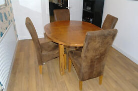 OVAL SOLID WOOD DINING TABLE & 4 SUEDE CHAIRS (EXTENDABLE)