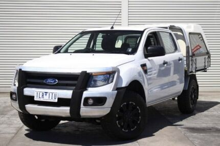 2012 Ford Ranger PX XL Double Cab 4x2 Hi-Rider White 6 Speed Sports Automatic Cab Chassis