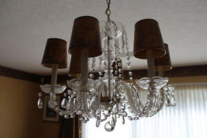 Crystal Chandelier 1940s With 6 Lights