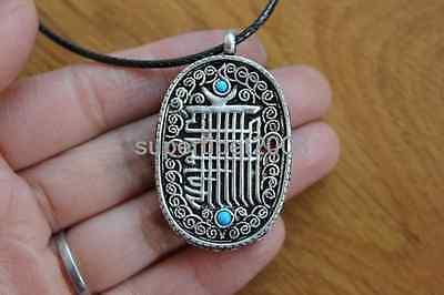 Tibetan Gau Box Pendant (PN174 Tibetan Silver Oval Buddist Kalachakra Prayer box Gau Amulet Pendant Nepal )
