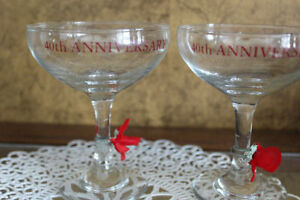 40th Anniversary Champagne Glasses (pair)
