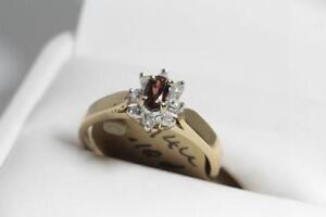 BRAND NEW DIAMOND- GARNET- 14K. GOLD LADIES RING 75% OFF