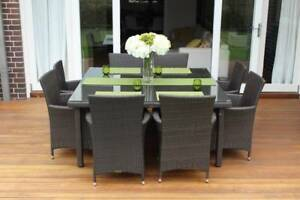 WICKER DINING SETTING, 8 SEAT SQUARE, B/NEW,EUROPEAN STYLING