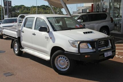 2014 Toyota Hilux KUN26R MY14 SR Double Cab Glacier White 5 Speed Manual Cab Chassis
