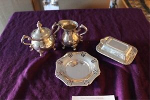 English reproduction silver plated set butter dish cream sugar
