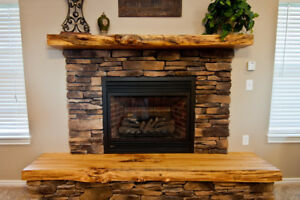 Live Edge Fireplace Mantels and Shelves