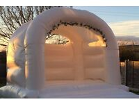 White Wedding Bouncy Castle disco dome rodeo unicorn Balloons candyfloss popcorn all of kent