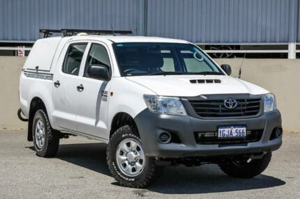 2013 Toyota Hilux KUN26R MY12 Workmate (4x4) White 5 Speed Manual Dual Cab Pick-up Cannington Canning Area Preview