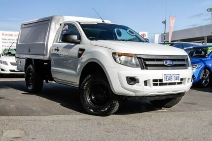 2012 Ford Ranger PX XL 2.2 HI-Rider (4x2) Cool White 6 Speed Automatic Cab Chassis