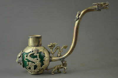 Old Collectible Decorate Handwork Green Jade Armoured Dragon Leo Smoking Tool