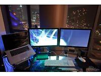 "VESA twin Screen ARM Desk Mount+ 2x APPLE 24"" LED IPS CINEMA DISPLAY(S) MONITOR'S, THUNDERBOLT"