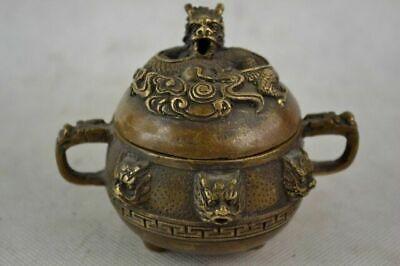 Old Decorated Handwork Copper carved Dragon Incense Burner