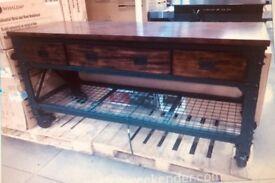 Whalen Industrial Metal & Wood Workbench/ Breakfast Bar