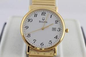 NEW IN BOX LARGE FACE BULOVA GOLD MICRO PLATED EXPENDABLE WATCH