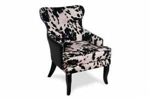 FLOOR MODEL FAUX COWHIDE ACCENT CHAIRS STARTING FOR $275 ONLY