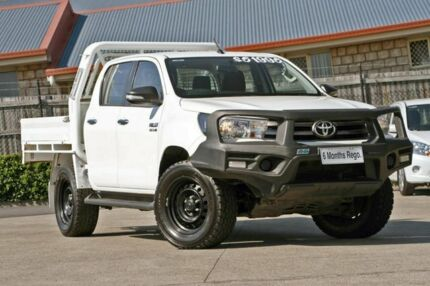 2016 Toyota Hilux GUN126R SR Double Cab White 6 Speed Sports Automatic Cab Chassis Hillcrest Logan Area Preview