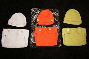 Photography Props - Diaper Cover/hat sets, 3-6 mo