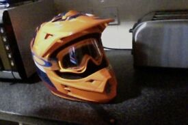 shift motorcross helmet with goggles 6month old ( orange )